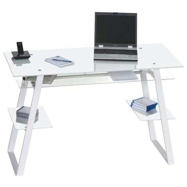 Psací stůl  5006 bílá/sklo 1