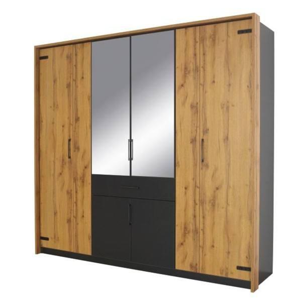 Sconto Šatní skříň ADDISON dub wotan/ šedá, 8 dveří, 2 zrcadla, 1 zásuvka - nábytek SCONTO nábytek.cz