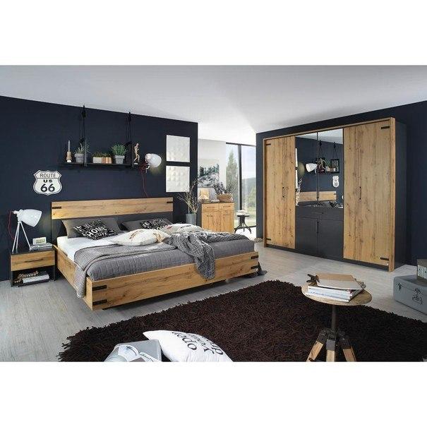 Šatní skříň ADDISON dub wotan/ šedá, 8 dveří, 2 zrcadla, 1 zásuvka 2