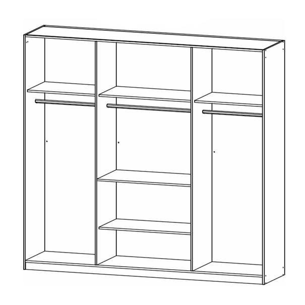 Šatní skříň ADDISON dub wotan/ šedá, 8 dveří, 2 zrcadla, 1 zásuvka 4