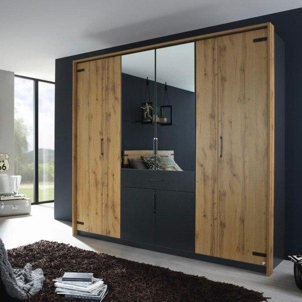 Šatní skříň ADDISON dub wotan/ šedá, 8 dveří, 2 zrcadla, 1 zásuvka 5