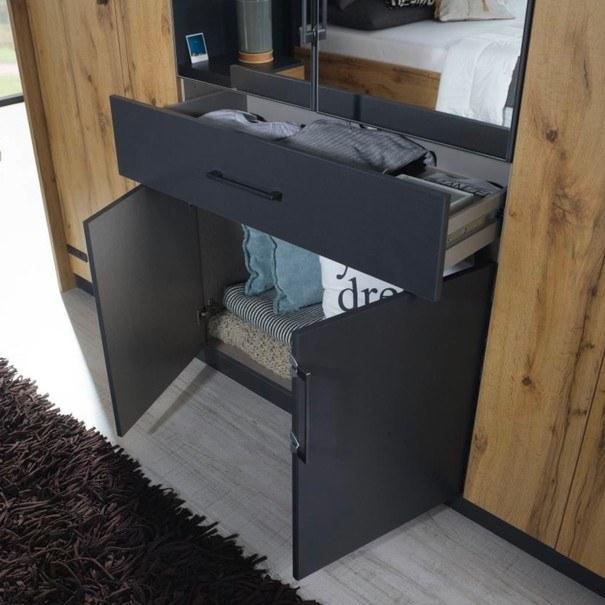 Šatní skříň ADDISON dub wotan/ šedá, 8 dveří, 2 zrcadla, 1 zásuvka 6