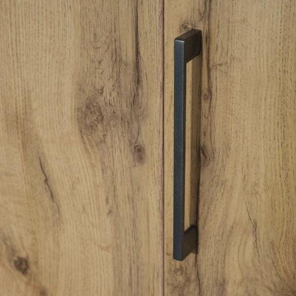 Šatní skříň ADDISON dub wotan/ šedá, 8 dveří, 2 zrcadla, 1 zásuvka 8