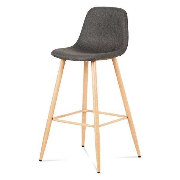 Barová židle ADRIANNE šedá/dub 1