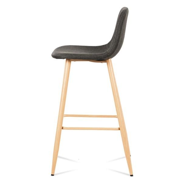 Barová židle ADRIANNE šedá/dub 3