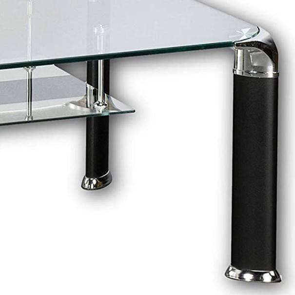 Konferenční stolek ALBERTO čiré sklo/černá 3