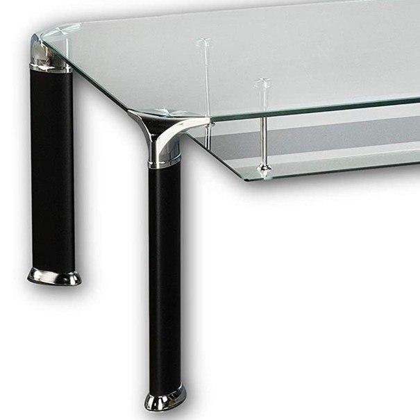 Konferenční stolek ALBERTO čiré sklo/černá 4