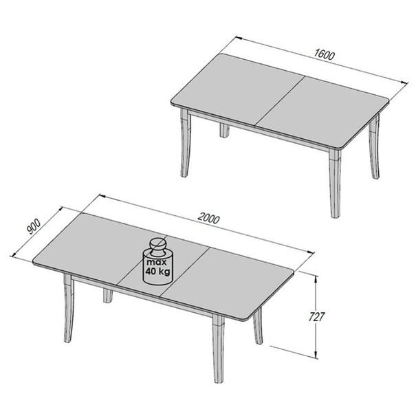 Jídelní stůl ALEXANDRIA bílý dub 2
