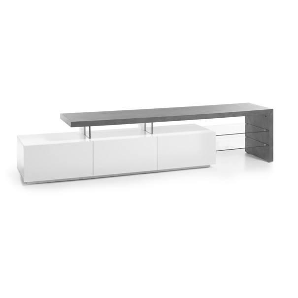 Sconto TV stolík ALEXIS biela/betón