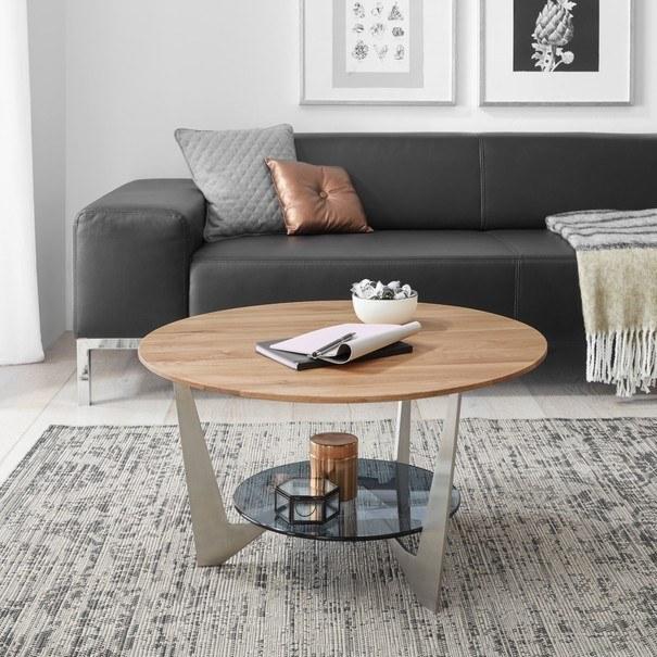 Konferenční stolek ALGAIDA dub/stříbrná/sklo 2