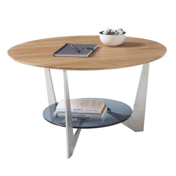 Konferenční stolek ALGAIDA dub/stříbrná/sklo 3