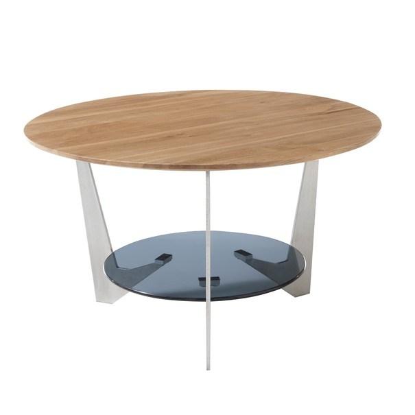 Konferenční stolek ALGAIDA dub/stříbrná/sklo 4