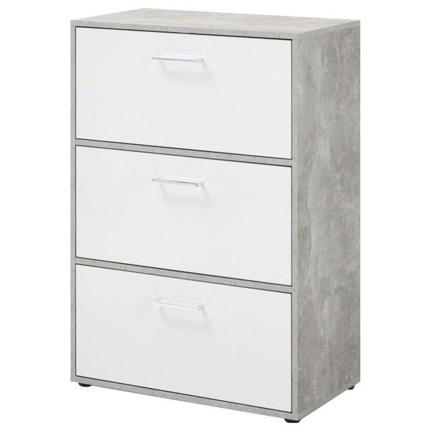 Botník/komoda ALMADA beton/bílá 1