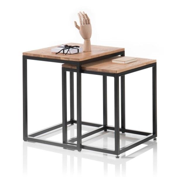 Set konferenčních stolků AVERY dub/černá, 2 ks 3