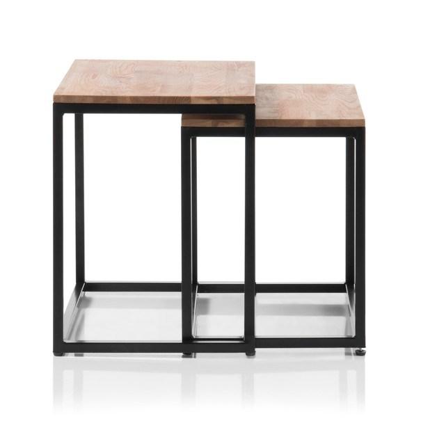 Set konferenčních stolků AVERY dub/černá, 2 ks 4