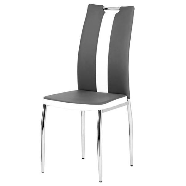 Jedálenská stolička BARBORA sivobiela/chróm 1