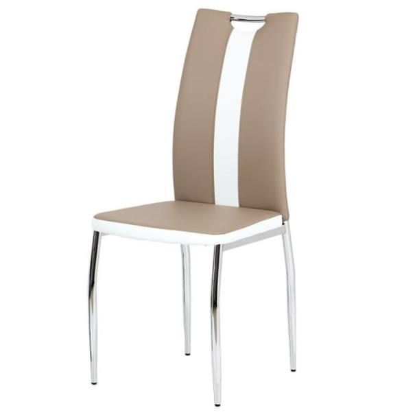 Jídelní židle BARBORA hnědo-bílá/chrom 1
