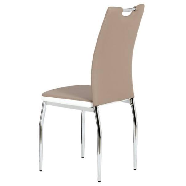 Jídelní židle BARBORA hnědo-bílá/chrom 3