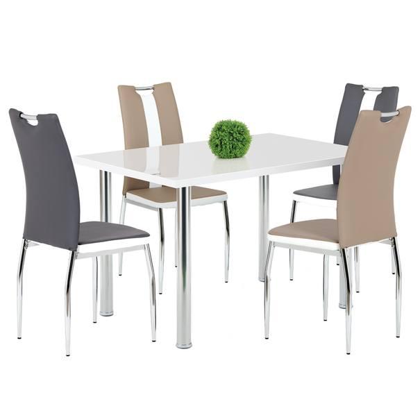 Jedálenská stolička BARBORA sivobiela/chróm 2