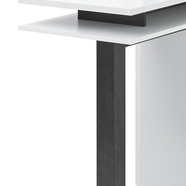 Barový stůl  BAY bílá/tmavý beton 3