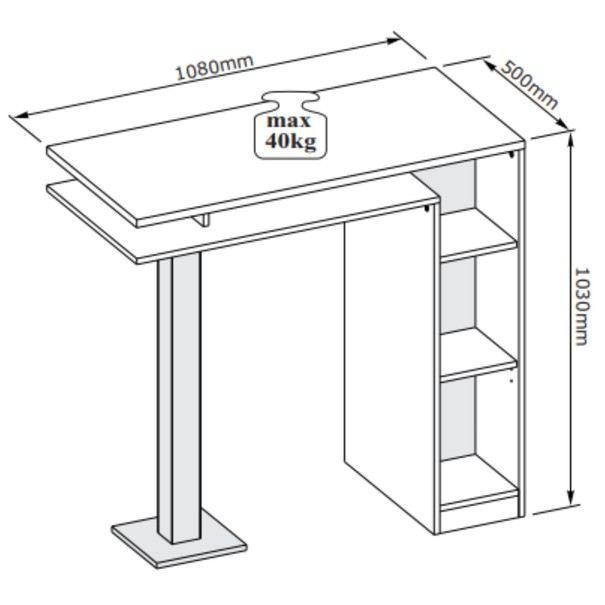Barový stůl  BAY bílá/tmavý beton 4