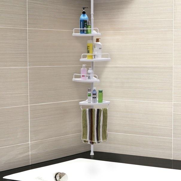 Rohová koupelnová police BCB001A bílá 12