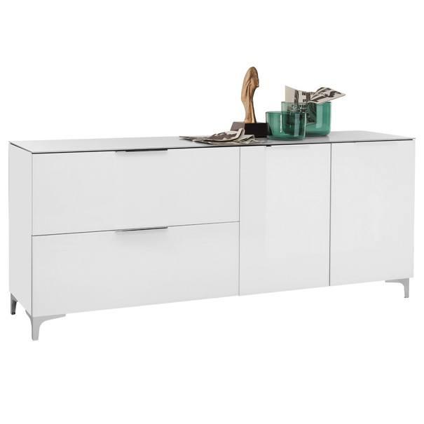 Sconto TV stolík BENTLEY biela matná/biele sklo