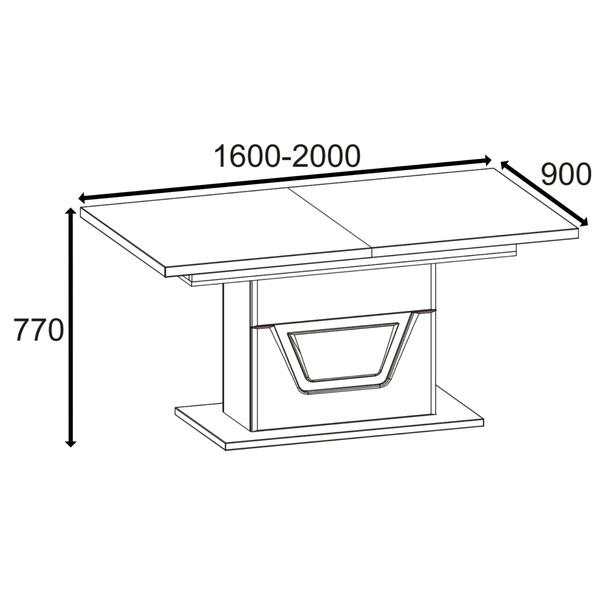 Jídelní stůl BONN jilm matný/černá 5