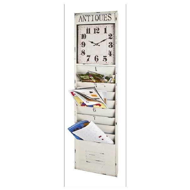 Nástenný panel s hodinami  BORIS biela s patinou 1