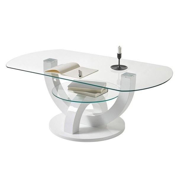 Konferenční stolek  BOSTON bílá, vysoký lesk 2