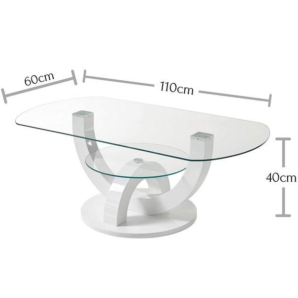 Konferenční stolek  BOSTON bílá, vysoký lesk 4