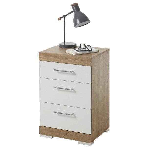 Noční stolek BRISTOL 20 dub/bílá lesklá 1