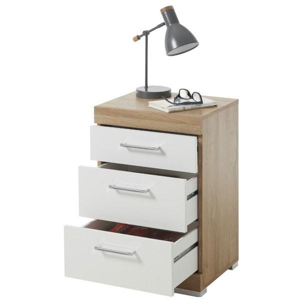 Noční stolek BRISTOL 20 dub/bílá lesklá 2