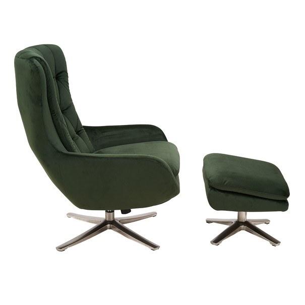 Relaxační křeslo s podnožkou CADEN tmavě zelená 4