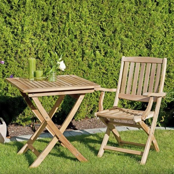 Skládací židle s područkami CAMBRIDGE 2 teakové dřevo 2