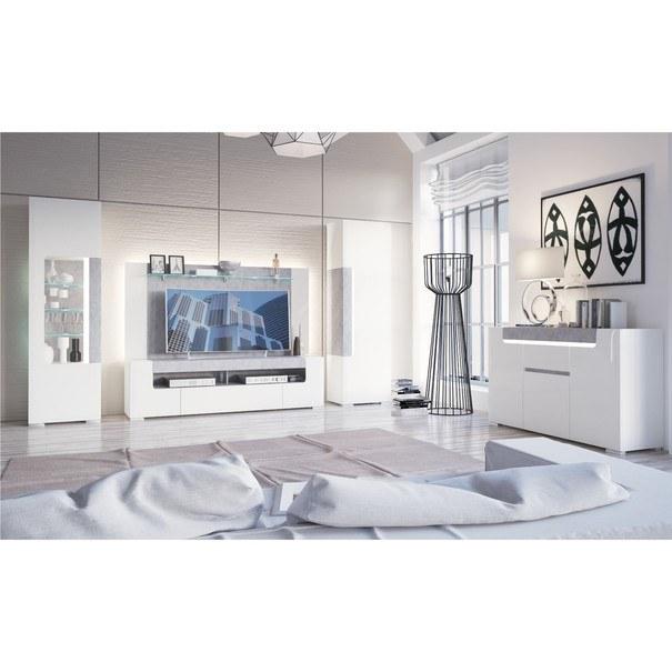 Vitrína CANTERO bílá vysoký lesk/beton 2