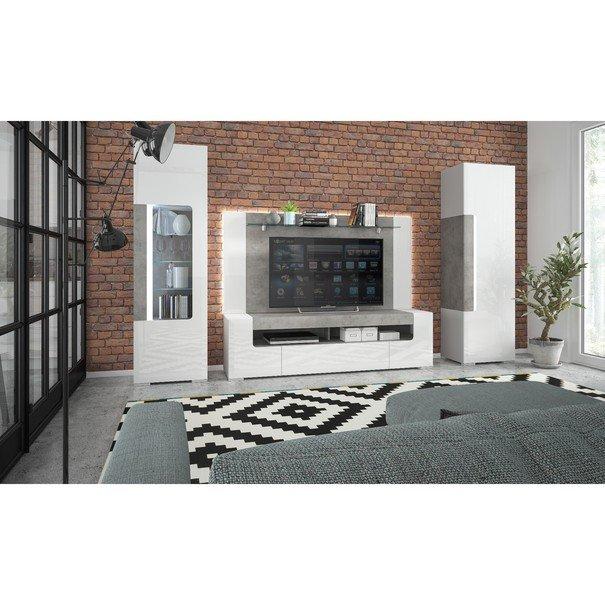 Vitrína CANTERO bílá vysoký lesk/beton 5