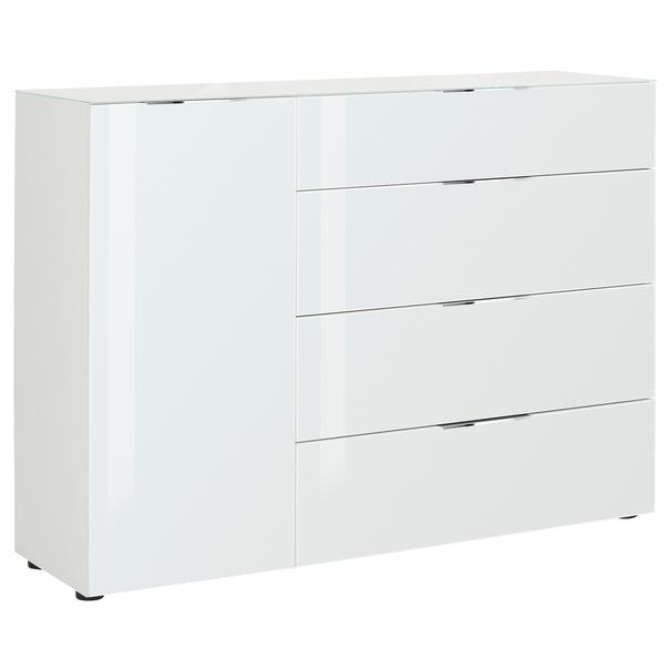 Sconto Komoda CASSINI 2 bílá matná/bílé sklo - nábytek SCONTO nábytek.cz
