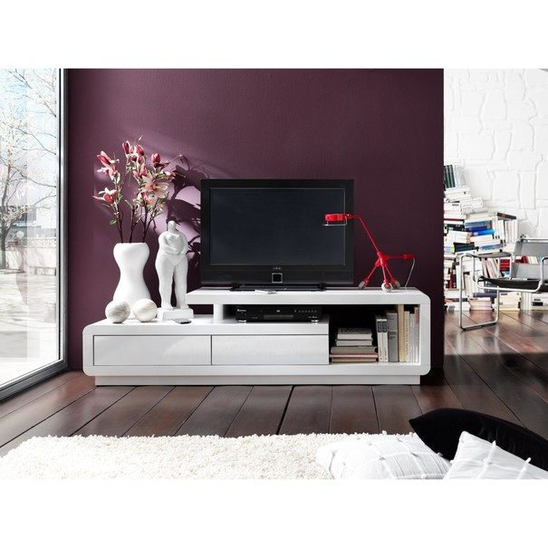 TV stolek CEDRIK bílá vysoký lesk 2