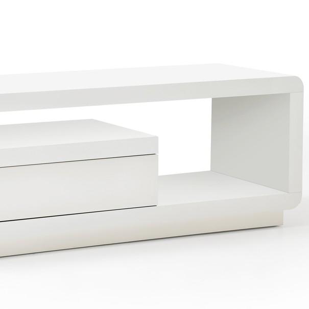 TV stolek CEDRIK bílá vysoký lesk 4