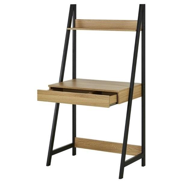 Regál/písací stôl  CIRON dub sägerau/čierna 1