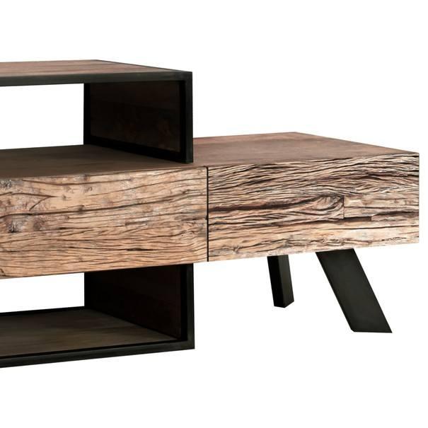 TV stolek CITY přírodní akácie/šedá 4