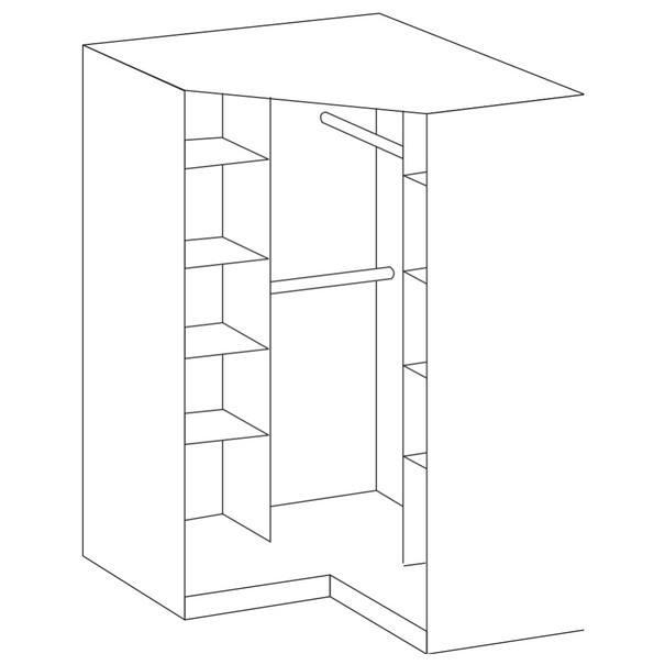 Rohová šatní skříň CLICK 543 dub sägerau/zrcadlo 3
