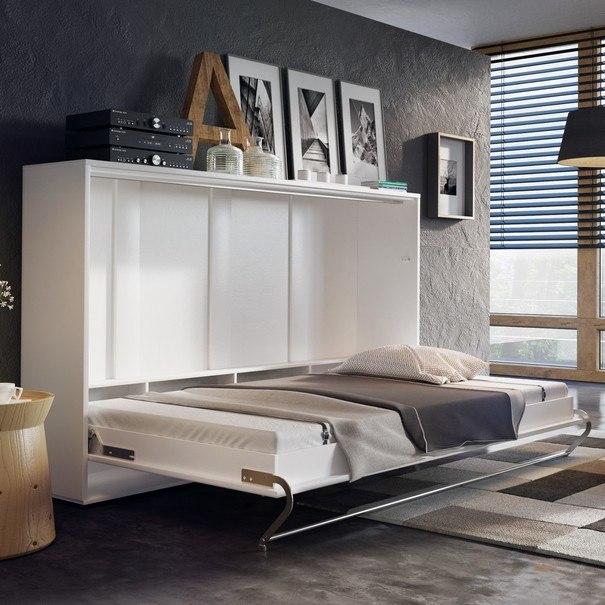 Výklopná postel CONCEPT PRO CP-04 bílá matná, 140x200 cm, horizontální 3