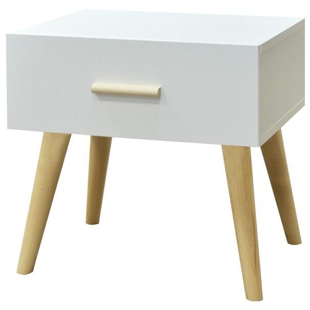 Sconto Noční stolek CRAZY bílá/buk - nábytek SCONTO nábytek.cz