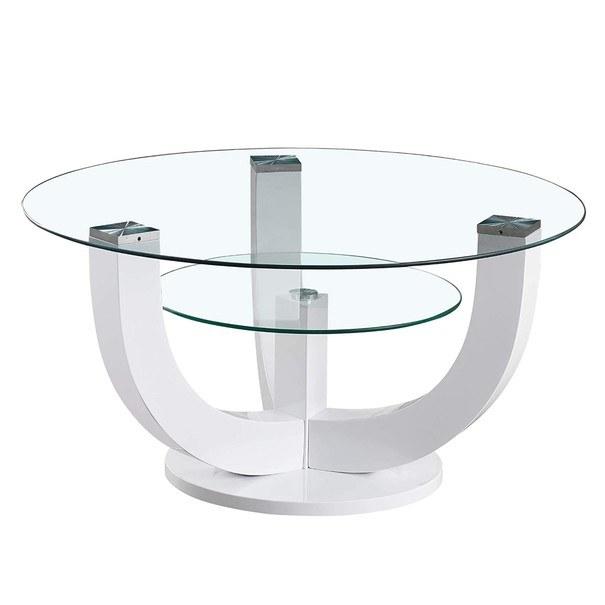Konferenční stolek  DENVER bílá, vysoký lesk 1