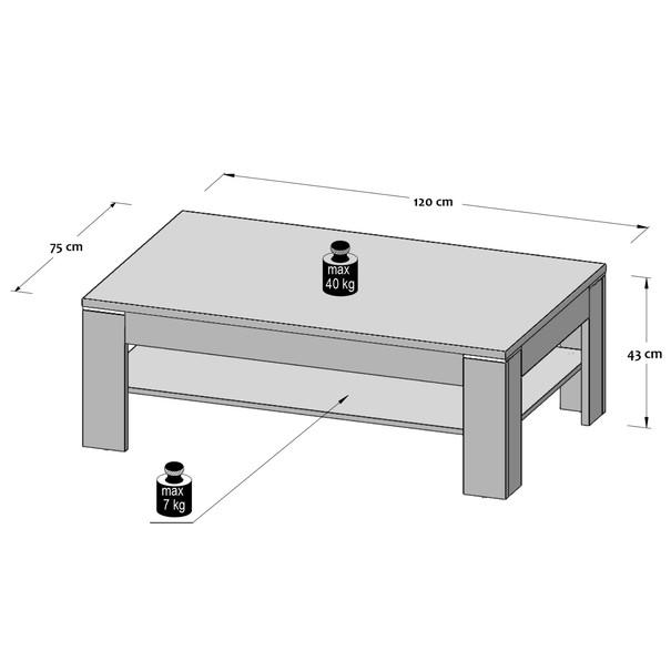 Konferenční stolek DURO pinie bílá/dub antik 4