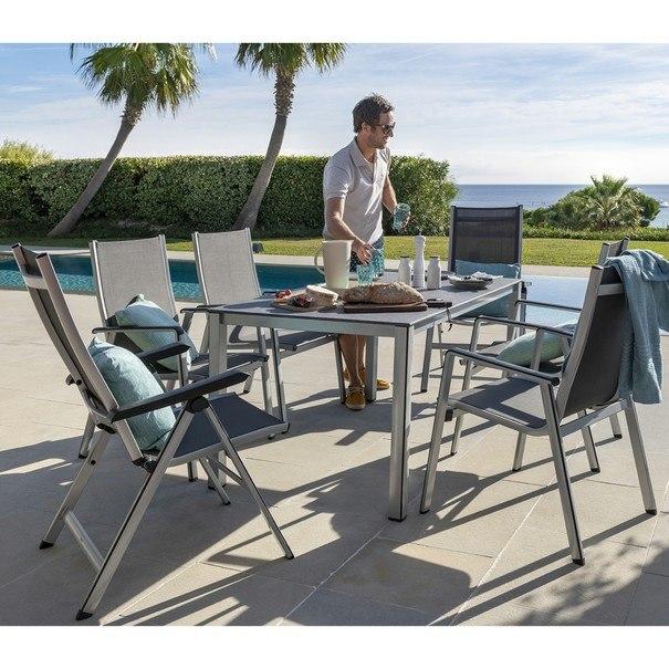 Zahradní židle ELEMENTS stříbrná/antracit 2