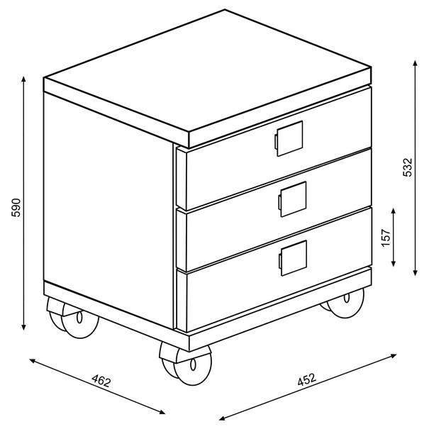 Noční stolek EMMET pinie cascina/bílá 6