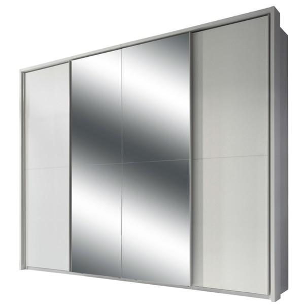 Šatní skříň s TV koutem ENIMA bílá/zrcadlo 1
